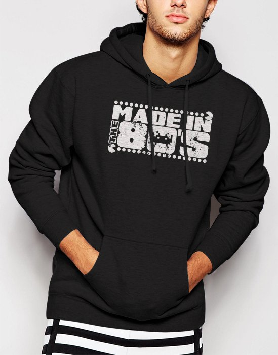 New Rare Made In The 80'S 30Th Birthday Pac Invader Men Black Hoodie Sweater