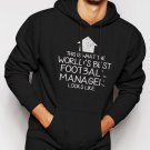 New Rare WORLD'S BEST Football Team Manager Men Black Hoodie Sweater