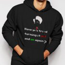 New Rare IT Crowd have you tried turning it off and on again Men Black Hoodie Sweater