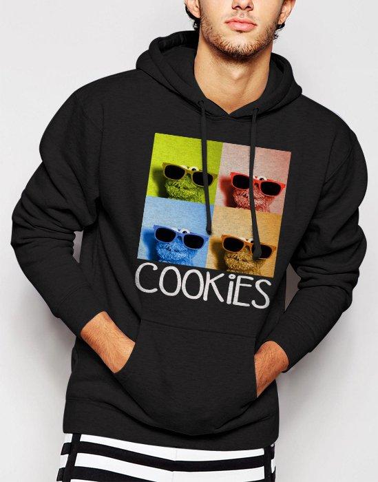 New Rare Sesame Street Cookie Monster Glasses Men Black Hoodie Sweater