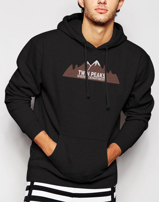 New Rare Twin Peaks Sheriff Department fire walk with me Men Black Hoodie Sweater