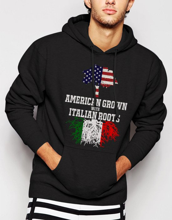 New Rare American Grown with Italian Roots Men Black Hoodie Sweater