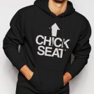 New Rare Chick Seat Funny Raunchy Christmas Men Black Hoodie Sweater