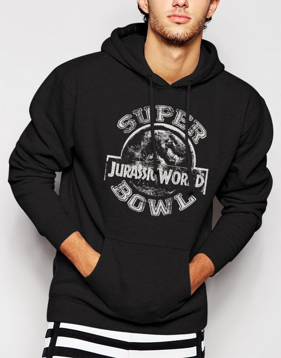 New Rare Jurassic World Superbowl Men Black Hoodie Sweater