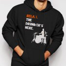 New Rare Relax The Drummer's Here Men Black Hoodie Sweater
