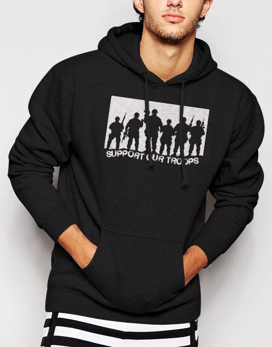New Rare SUPPORT OUR TROOPS Men Black Hoodie Sweater