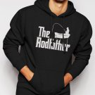 New Rare The Rodfather Pun Parody Fishing Men Black Hoodie Sweater
