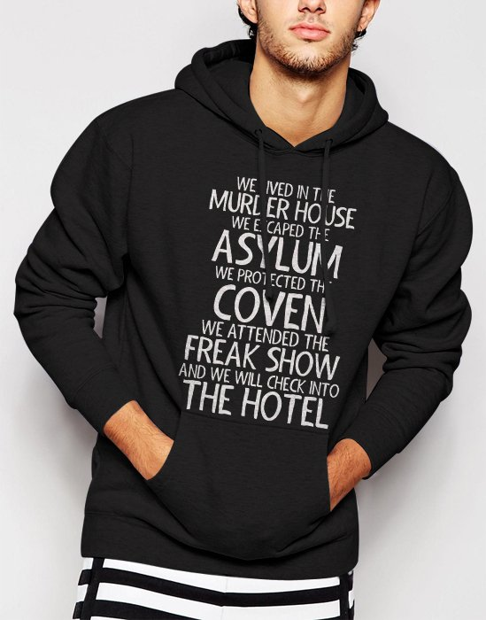 New Rare We Lived In The Murder House We escaped the Asylum Men Black Hoodie Sweater