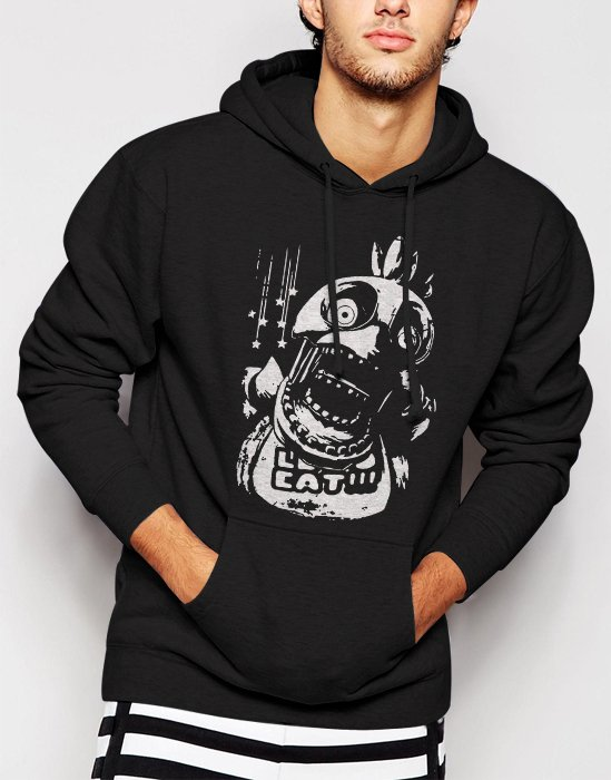 New Rare Chica FNAF Five Nights at Freddy's Horror Men Black Hoodie Sweater