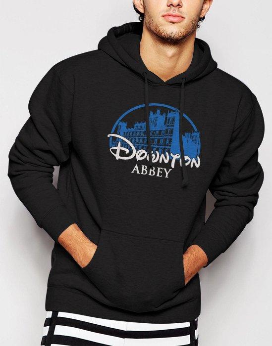 New Rare DOWNTON ABBEY Castle Bates Sherlock Men Black Hoodie Sweater