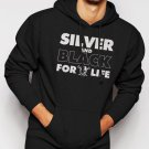 New Rare Silver and Black Forever Oakland Raiders Men Black Hoodie Sweater
