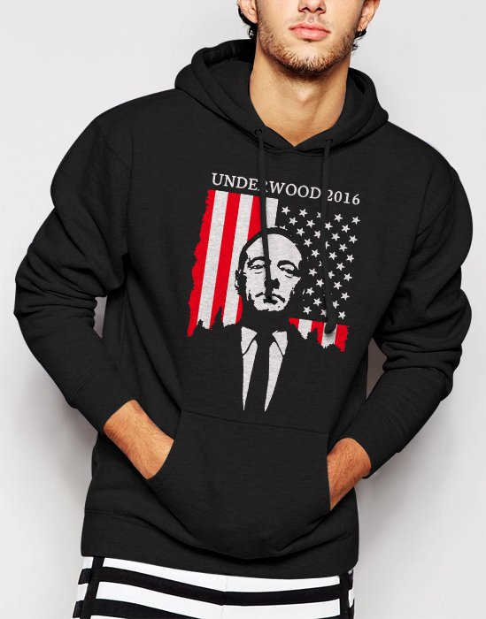 New Rare Underwood 2016 House of Campaign Men Black Hoodie Sweater