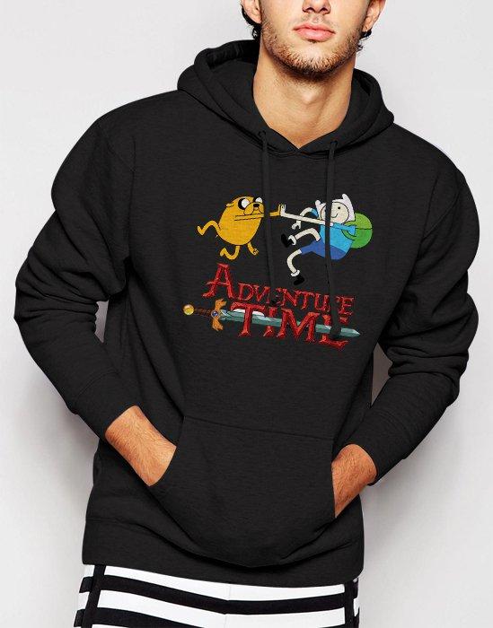 New Rare Adventure Time Jake Finn Cartoon Network Men Black Hoodie Sweater