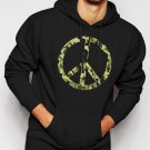 New Rare Army Pattern Paece Sign Men Black Hoodie Sweater