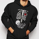 New Rare Maternity Skeleton Pregnant Men Black Hoodie Sweater