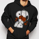 New Rare Snoopy Love Heart 50s Peanuts Cartoon Strip Men Black Hoodie Sweater