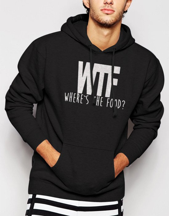 New Rare WTF Where is the Food Funny Swag Hipster Dope Men Black Hoodie Sweater