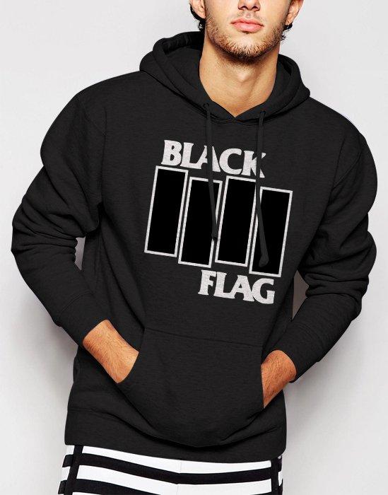 New Rare Black Flag Men Black Hoodie Sweater