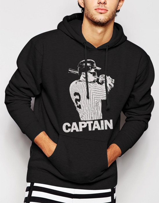 New Rare Derek Jeter New York Yankees Captain Men Black Hoodie Sweater