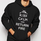 New Rare Keep Calm and Return Fire Men Black Hoodie Sweater