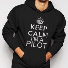 New Rare Keep Calm I'm A Pilot Mens Fly Flying Airplane Tee Men Black Hoodie Sweater