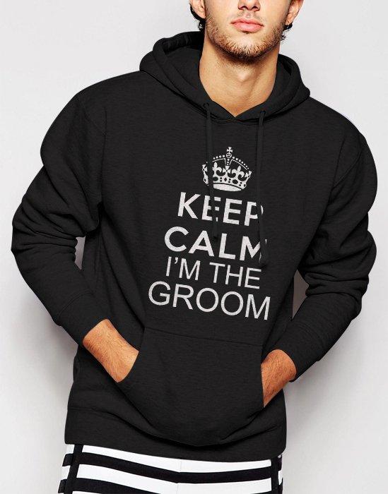Keep Calm I'm The Groom Mens Wedding Bachelor Party Marriage Mens Tee Men Black Hoodie Sweater
