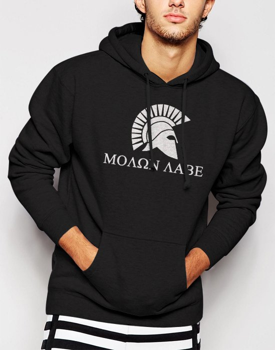 New Rare Molon Labe Come and Take Them Sparta Men Black Hoodie Sweater