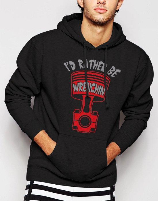 New Rare Rather Be Wrenchin Men Black Hoodie Sweater