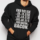 Exercise Eggs Are Sides For Bacon Funny Paleo College Humor Men Black Hoodie