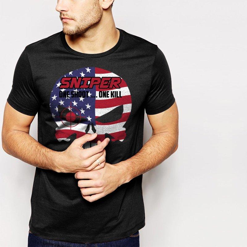 New Hot THE PUNISHER US AMERICAN SNIPER Black T-Shirt for Men