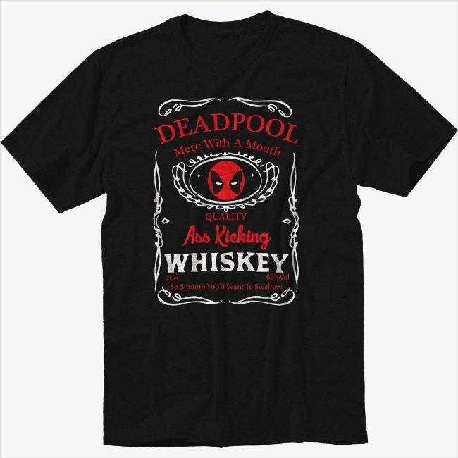 DEADPOOL WHISKY Drinking Mash Up Black T-Shirt