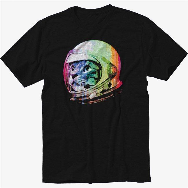 Rainbow Space Kitten Black T-Shirt Cute Cat