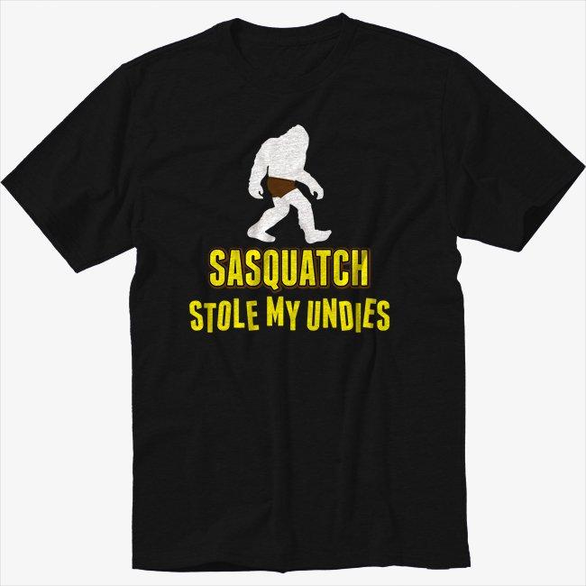 Sasquatch Stole Undies Funny Bigfoot Geek Nerd Black T-Shirt