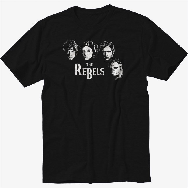 The Rebels Funny Geek Star Wars  Black T-Shirt The Beatles