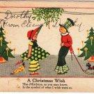 Christmas Postcard Boy Girl Under Mistletoe