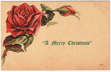 Christmas Postcard Merry Christmas Rose VINTAGE