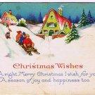 Christmas Postcard Family Sliding House Dog Made in USA