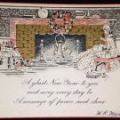 VINTAGE New Year Fireplace Card Canada