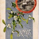 Christmas Postcard White Holly Berries Country Scene Embossed