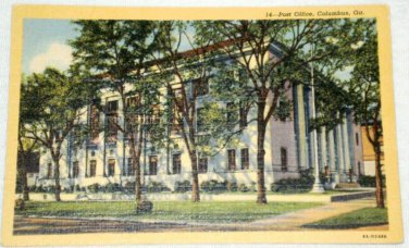 Curt Teich Linen Columbus Georgia Post Office Postcard