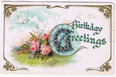 ANTIQUE Birthday Greetings Postcard Dove Roses Violet Forget Me Not 1908 Germany