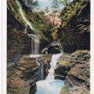 Watkins Glen New York Postcard Rainbow Falls Curteich A-52139 1913