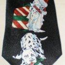 Dalmatians Christmas Dogs Black Neck Tie Silk ADDICTION