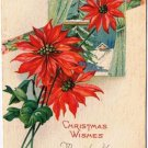 Christmas Postcard Poinsetta Window Made in USA