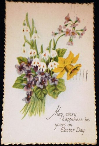 VINTAGE Floral Bouquet Easter Scalloped Edge Postcard