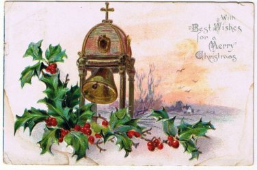 Christmas Postcard Tuck Holly Series Church Bell