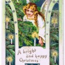 Christmas Glitter Postcard Winter Angel Tree Bright Happy Christmas