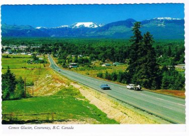 Courtney British Columbia Postcard Comox Glacier Scalloped Edge