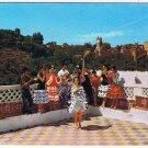 Spain Postcard Granada Gipsy Dance Alhambra in Background