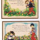 Easter Postcards (2) Rabbits Children Chicks Flowers Gold Border